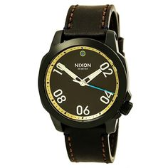Nixon Ranger 40 Leather All Black / Brass / Brown Stainless Steel Analog Watch #NIXON