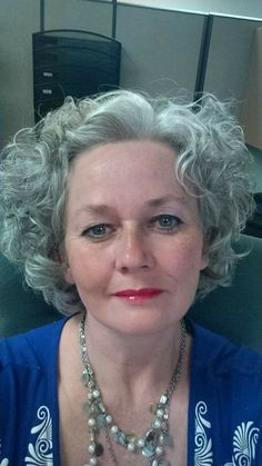 Grey Curly Hair, Silver Grey Hair, Short Curly Hair, Curly Hair Styles, Grey Hair And Glasses, Going Gray Gracefully, Gray Hair Growing Out, Older Women Hairstyles, Hair Today