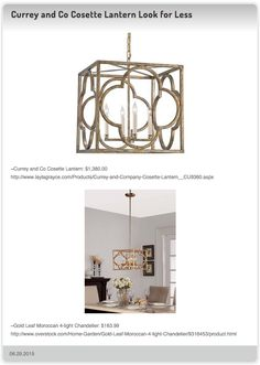 Currey and Co Cosette Lantern $1,380.00 vs Gold Leaf Moroccan 4-light Chandelier $163.99