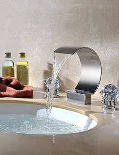 Modern Brass Chrome Crystal Handles 3Hole Waterfall Bathroom Sink Tap  Simple Stylish Luxurious Classic And Durable