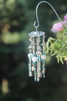 Items similar to Miniature Fairy Garden Wind Chime, Dollhouse Windchime, Mini Garden Accessory, Silver,Teal Blue, Purple & Blue Iridescent Beads, 019 on Etsy
