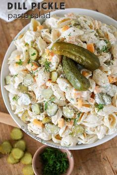 This Dill Pickle Pasta Salad recipe from Spend with Pennies is literally our favorite pasta salad ever! It's creamy, has all of our favorite ingredients (aka: pasta, pickles, and a creamy sauce) — and it is even better when it's made ahead of time making Dill Pickle Pasta Salad Recipe, Pasta Salad Recipes, Creamy Pasta Salads, Vegetable Pasta Salads, Vegetable Recipes, Potluck Dishes, Pasta Dishes, Macaroni Salad, Side Dish Recipes