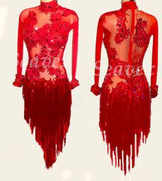 Women Ballroom Rumba Salsa Latin Smooth Dance Dress US 10 UK 12 Two Red Fringe