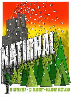 """The National (Glasgow) by Mike King  •Screen print  •17.5 x 24""""  •Signed & Numbered  •Limited edition of 150 £40.00 http://www.thefloodgallery.com/collections/latest-arrivals/products/the-national-glasgow"""