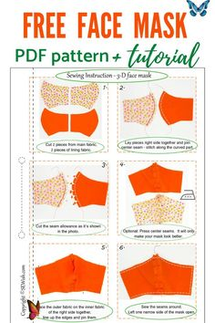 Free pattern for face mask  <br> Sewing Patterns Free, Free Sewing, Sewing Tutorials, Free Pattern, Pattern Sewing, Sewing Projects, Diy Mask, Diy Face Mask, Face Masks