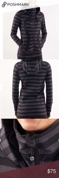 Stride Jacket - Black Micro Macro Stripe / Black EUC - Awesome Fall Staple. Reposhing this beauty as the fit is just not right for me. Perfect for sideline sports fans, going to the gym and even grocery shopping. No fading or holes. lululemon athletica Tops Sweatshirts & Hoodies