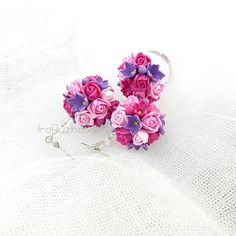 Polymer Clay Jewelry floral earrings and ring  Handmade