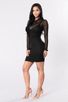 Mesh It Up Dress - Black