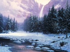 "Thomas Kinkade's 1993 masterpiece ""The Glory of Winter"" was inspired by one of Thom and Nanette's ski trips to the Yosemite Valley. They fell in love with the gorgeous view of Bridal Veil Falls, and Thom captured its beauty in this painting."