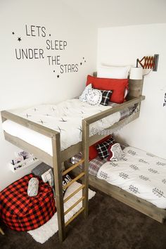 Name: Oliver (3) & Leo (2) Location: Highland, Utah I'm so in love with this whole lumberjack chic and plaid craze that is happening, so I decided to create a lumberjack room for my two active boys. I also wanted things to feel very light and airy and used a lot of white + black to keep it bright and modern. I've always loved bunk beds, so I designed these bunk beds with a special reading nook, perfect for snuggling as a family and reading books right before bedtime.