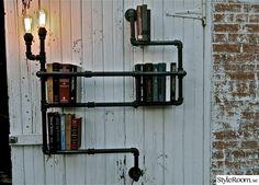 rör,vägglampa,vägghylla,galvad,steampunk