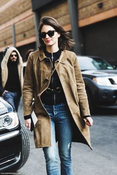 Maria Dueñas in Suede Car Coat layered over Black Belted Sweater + Denim   NYFW Fall 2015   Street Style   Collage Vintage