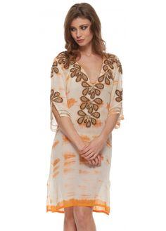 Lindsey Brown Carnival Collection Rumba Orange Tie Dye Gold Beaded Kaftan Top