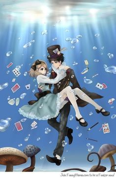 Attack on Titan - Levi and Petra Ral Alice in a Wonderland cross over Artist - Oyeme Adventures In Wonderland, Alice In Wonderland, Mad Hatter Anime, Cool Animes, Levi And Petra, Manga, Ymir And Christa, Eren X Mikasa, Chinese Cartoon