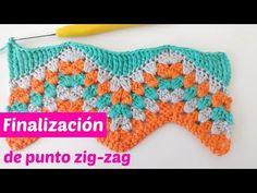 Cómo finalizar el punto zig-zag derecho - YouTube Punto Zig Zag Crochet, Zig Zag Crochet Pattern, Granny Pattern, Manta Crochet, Crochet Needles, Crochet Stitches, Crochet Hooks, Knit Crochet, Elephant Blanket