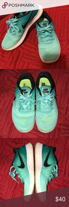 Nike Free Run Teal/Green ombré nike free runs . Worn very few times . Just a little too big for me (I wear a 7) . Nike Shoes Athletic Shoes