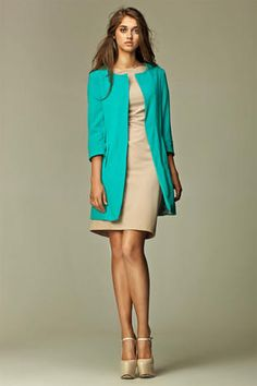 Straigh Cut Round Neck Long Blazer