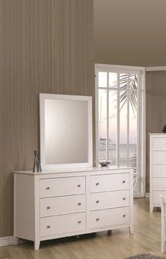 Selena Transitional White Dresser And Mirror