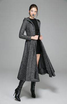 Coat-Gray Hood-Woman Coat-Gray Coat-Wool Coat-Maxi by xiaolizi