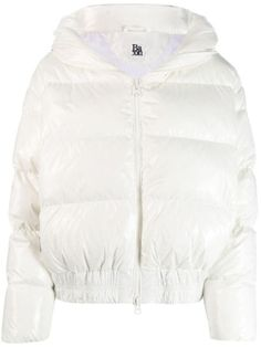 White feather down zipped puffer jacket from Bacon featuring a front zip fastening, long sleeves, side zipped pockets, a padded interior, a hood and an elasticated waistband. Puffer Jackets, Winter Jackets, White Feathers, Funny Halloween Costumes, World Of Fashion, Size Clothing, Bacon, Women Wear, Bomber Jacket