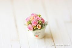 Dollhouse Miniature Flowers- English Roses Bouquet-dollhouse miniature flowers
