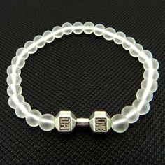 Glass Beads Alloy Fitness Dumbbell Women/Men Energy Dumbbell Bracelet