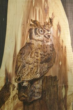 Horned Owl Wood Burning on Cedar by hippiescreations on Etsy, $70.00