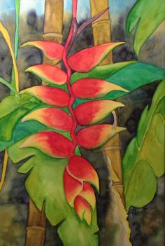 Haliconia by Patti Flower Painting Canvas, Flower Canvas, Flower Art, Canvas Art, Tropical Art, Tropical Flowers, Watercolor Flowers, Watercolor Paintings, Caribbean Art
