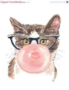 ON SALE Funny Cat Watercolor Print - Pink Bubble Gum, Retro Glasses, 5x7 Painting Print, Nursery Art
