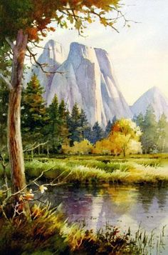 Granite Towers Yosemite , Watercolor Painting of Yosemite National Park, California - Watercolor Paintings by Roland Lee Art Aquarelle, Art Watercolor, Watercolor Landscape Paintings, Landscape Art, Beautiful Paintings, Art Techniques, Art Images, Painting & Drawing, Art Gallery