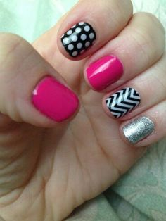 Kiss Lacquer with Diamond Dust Sparkle, Black & White Polka, and White Chevron over Matte Black
