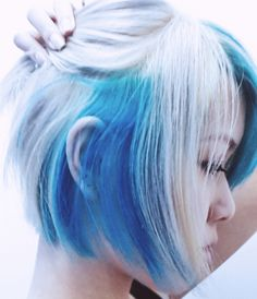 Short white and blue hair.