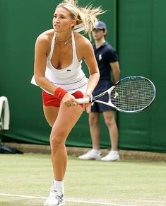 "2007 Tatiana Golovin became the forth woman (after Gussie Moran, Karol Fageros and Anne White) who shocked British public, as she broke the rule of ""mainly white"" Wimbeldon dress code by wearing red knickers. Tennis Match, Play Tennis, Sport Tennis, Lyon, Tennis Rules, Hockey, Tennis Pictures, Tennis Accessories, Tennis Workout"