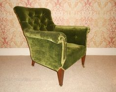 Victorian Mahogany & Velvet Button Back Armchair - Antiques Atlas