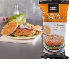 Trident Seafoods® Wild Alaskan Salmon Burgers. Made from filets, not ground salmon. The flavor and texture were excellent! Great to keep in the freezer and pull out in a pinch.