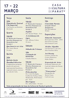 Confira a programação desta semana na Casa da Cultura de Paraty.  #CasaDaCultura #CasaDaCulturaParaty #música #exposição #arte #fotografia #evento #cultura #turismo #Paraty #PousadaDoCareca