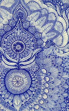 blue by Yes Menu. Art prints available through Society6. Zentangle doodle style