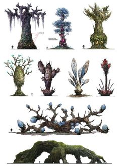 "tabletopresources: "" [X] Check out Tabletop Gaming Resources for more art, tips and tools for your game! "" Superb mutant plants for your Gamma Terran forests."