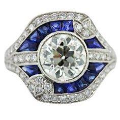 Sophia D Diamond & Sapphire Ring    Art Deco Style  Center European Cut Diamond 2.15 carats  Clarity SI 1, Color I