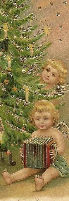 Angel with accordian. Holiday Images, Vintage Christmas Images, Victorian Christmas, Vintage Holiday, Christmas Pictures, Christmas Postcards, Old Time Christmas, Old Fashioned Christmas, Christmas Scenes