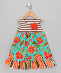 Take a look at this Orange & Aqua Corn Flower Ruffle Dress - Toddler & Girls by SILLY MILLY on #zulily today!