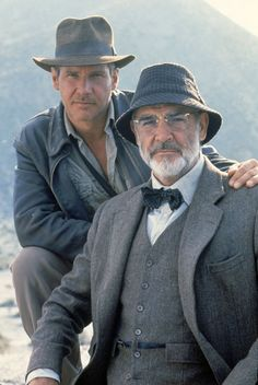 """Dr (Henry) 'Indiana' Jones Jnr and Professor Henry Jones Snr. ( Harrison Ford and Sean Connery) from """"Indiana Jones And The Last Crusade"""". Hollywood Stars, Classic Hollywood, Indiana Jones Last Crusade, Film Mythique, Henry Jones, Actrices Hollywood, Marlon Brando, Brad Pitt, Great Movies"""