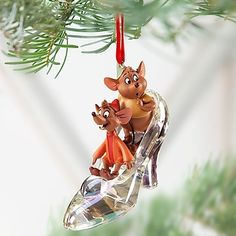 Disney Jaq and Gus with Slipper Cinderella Ornament