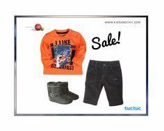 #Bóboli #boys' orange long sleeved #Tshirt, #TucTuc microcorduroy #trousers and #booties for #babyboys on sale at www.kidsandchic.com. #sale #summersale #kidsfashion #baby #babygift #showergift #babyboutique #kidsandchiccom #castelldefels #barcelona #bebe #regalobebe #modabebe