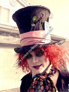 Homemade Mad Hatter Halloween Costume Idea: This year I had a Homemade Mad Hatter Halloween Costume. The hat is made from wire, poster board, and foam core wrapped in fabric...