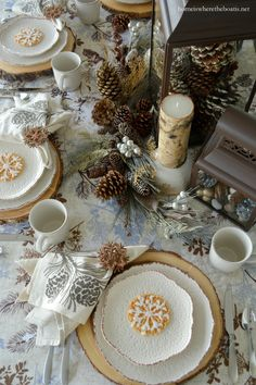 A Winter Woodland Table with Pfaltzgraff Chateau Dinnerware and Snowflake Pizzelles – Home is Where the Boat Is
