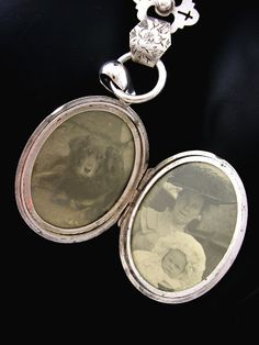 Inside Victorian Silver Locket Book Chain Collar Flowers and Cross - how sweet!