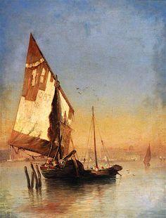 The Athenaeum - Venetian Barges (Felix-Francois-Georges-Philbert Ziem - )
