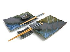 """Lovely """"Kasumi Sushi Set for Two"""" Japanese dishes."""