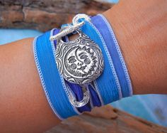 Eclipse Jewelry, Solar Eclipse Bracelet: Handmade sterling silver toggle clasp silk wrap bracelet by HappyGoLicky Jewelry. >>> READY TO SHIP in 1-3 business days <<< o Original design handmade in the USA o Sterling silver o Adjustable, so one size fits ALL o Hand dyed silk in 42 o 14